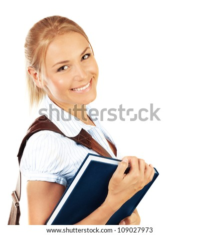 Portrait of beautiful happy student female, attractive clever smiling school girl with textbook isolated on white background, pretty smart cheerful teenager with shoulder bag, education concept - stock photo