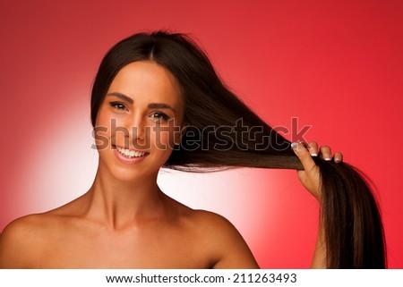 portrait of Beautiful hispanic woman - stock photo