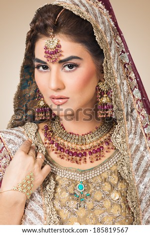 portrait of beautiful Indian bride, happy indian bride - stock photo