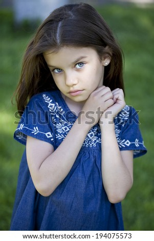 Portrait of beautiful little girl, close up - stock photo