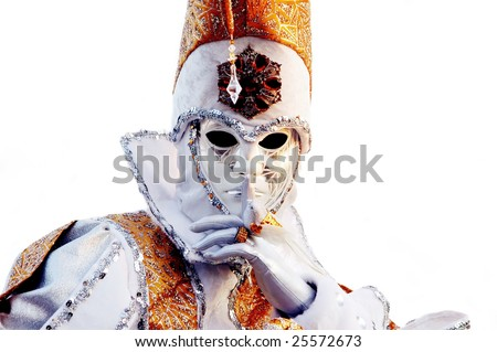 Portrait of Beautiful mask in Venice, Italy - stock photo