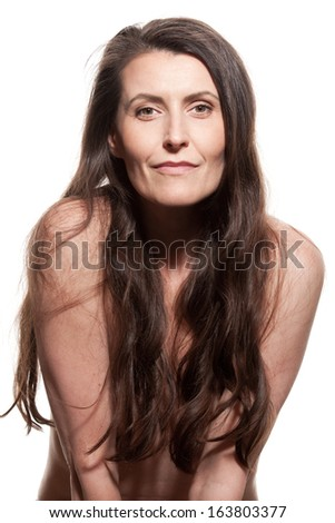 Portrait of beautiful mature woman - stock photo