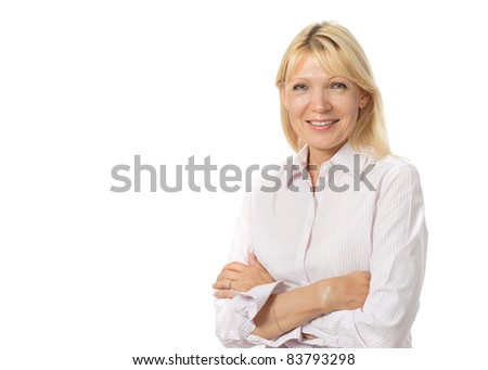 Portrait of beautiful mature woman on white background - stock photo