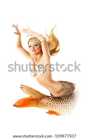 portrait of beautiful mermaid girl with fish tail, magic mythology being original photo compilation, isolated on white background - stock photo