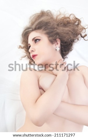 Portrait Of Beautiful Nude Young Woman - stock photo