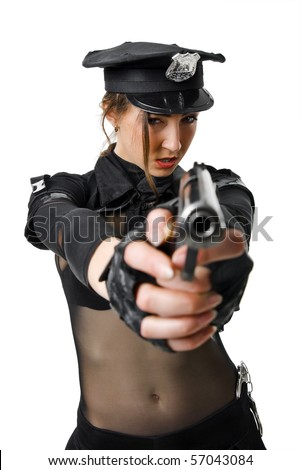 portrait of beautiful policewoman with handcuffs in a black uniform that aiming a gun. isolated on white - stock photo