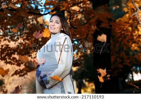 Portrait of beautiful pregnant woman walking in autumn park - stock photo