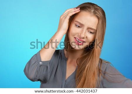 Portrait of beautiful sad woman - stock photo