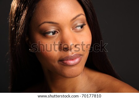 Portrait of beautiful serene black woman - stock photo