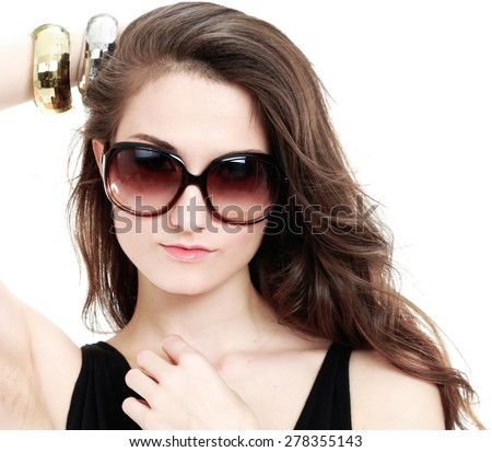 Portrait of beautiful sexy girl in sunglasses - stock photo