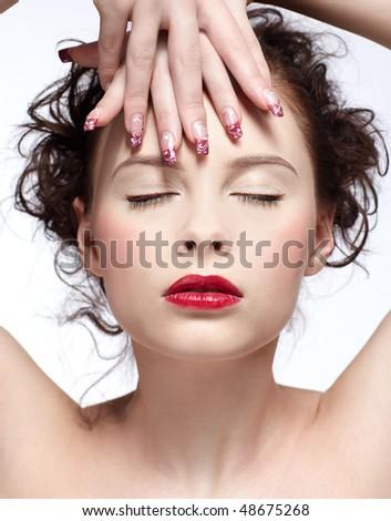 portrait of beautiful slavonic brunette girl - stock photo