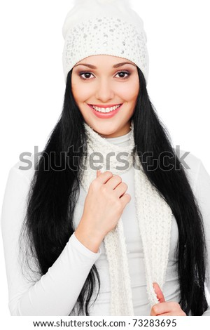 portrait of beautiful smiley woman in white hat - stock photo