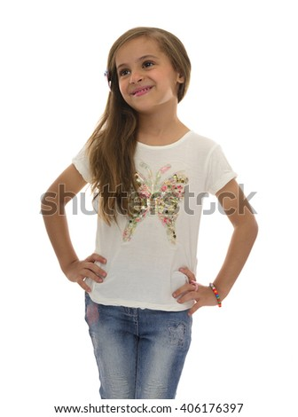 Portrait of Beautiful Smiling Girl Isolated on White Background - stock photo