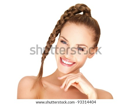 Portrait of beautiful smiling woman isolated on white - stock photo