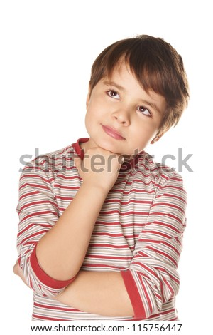 Portrait of beautiful thoughtful little boy isolated on white background - stock photo
