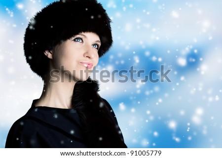portrait of beautiful winter woman, close-up - stock photo