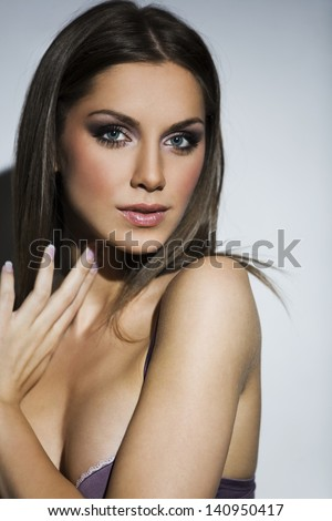 portrait of beautiful woman - stock photo