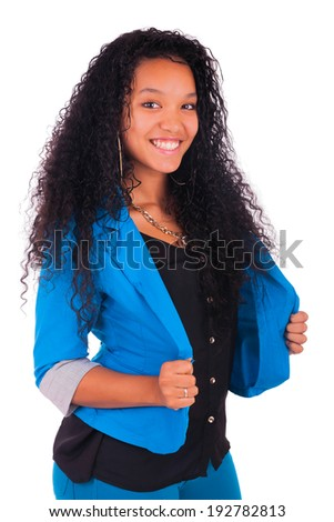 Portrait of Beautiful Woman african black isolated - stock photo