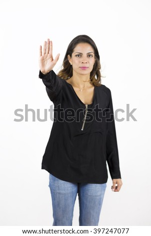 Portrait of Beautiful Woman Making Stop Sign -Isolated over white - stock photo