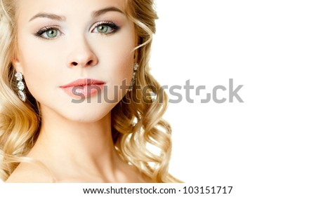 Portrait of beautiful woman model with professional makeup - stock photo