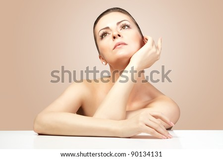 Portrait of beautiful woman on natural background. SPA - stock photo