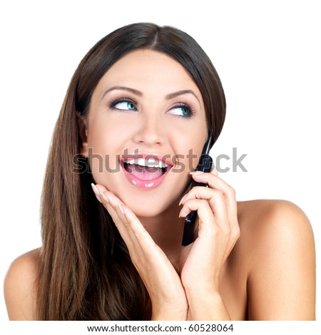 Portrait of beautiful woman, she talking cell phone - stock photo