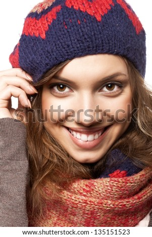 Portrait of beautiful woman wearing woolen accessories, not isolated on white background - stock photo