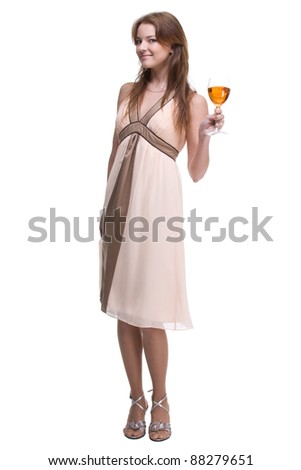 Portrait of beautiful woman with glass of wine - stock photo