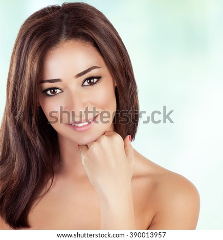 Portrait of beautiful woman with gorgeous brown hair over clear background, spending day in beauty salon, healthy treatment, enjoying day spa - stock photo