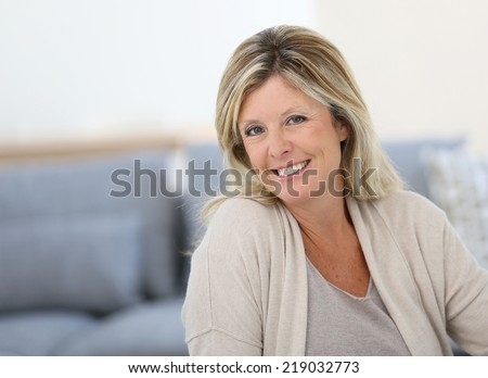 Portrait of beautiful 40-year-old woman - stock photo