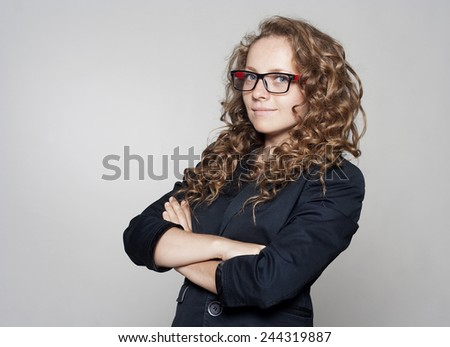 Portrait of beautiful young businesswoman - stock photo