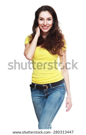 Portrait of beautiful young happy smiling woman with curly hair gesture - stock photo