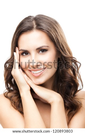 Portrait of beautiful young happy smiling woman with long curly hair, isolated over white background - stock photo