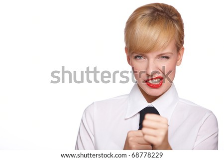 Portrait of beautiful young sexy businesswoman on white background - stock photo