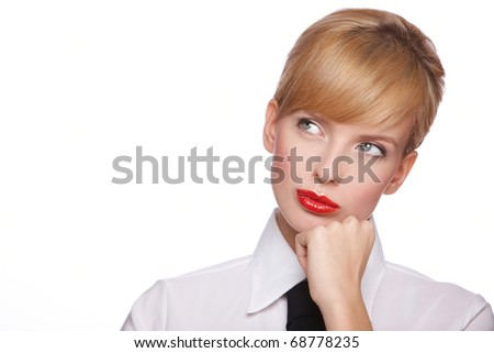Portrait of beautiful young sexy businesswoman, she looking at copyspace - stock photo