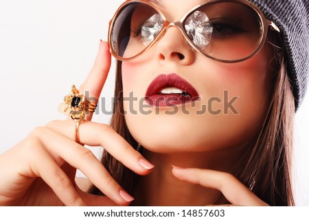 Portrait of beautiful young sexy woman - stock photo