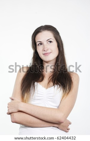 Portrait of beautiful young woman isolated on white background - stock photo