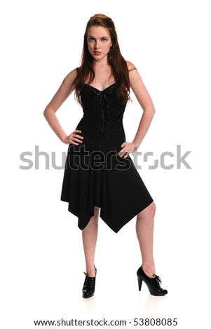 Portrait of beautiful young woman with black dress over white background - stock photo