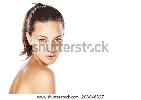 portrait of beautifull young girl without make up - stock photo