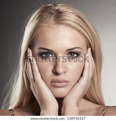 Portrait of beauty blond woman - stock photo