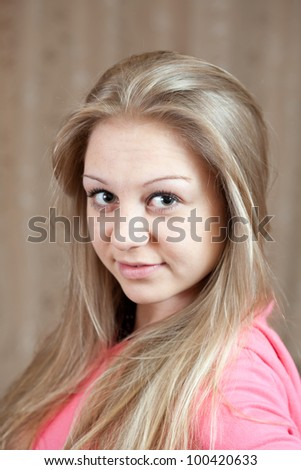 Portrait of beauty girl in home interior - stock photo