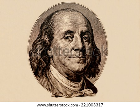 Portrait Of Benjamin Franklin - stock photo
