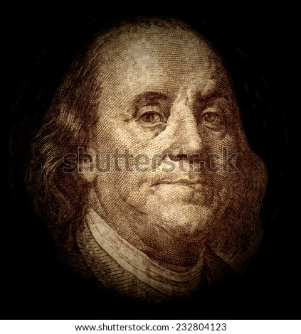 Portrait of Benjamin Franklin  - stock photo