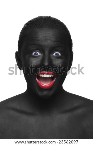 portrait of black painted woman with red lips and blue eyes - stock photo