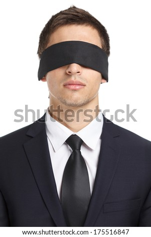 Portrait of blind-folded businessman, isolated on white. Concept of slavery and violence - stock photo