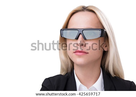Portrait of blonde businesswoman in smart glasses isolated on white background - stock photo