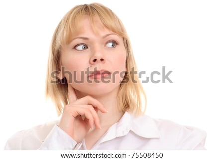 Portrait of blonde woman thinking on white background - stock photo