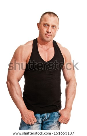 portrait of body-builder man on white background - stock photo