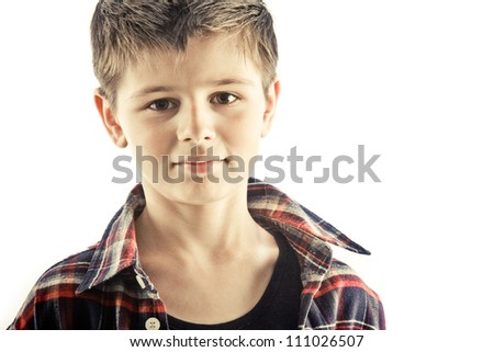portrait of boy is in a studio - stock photo
