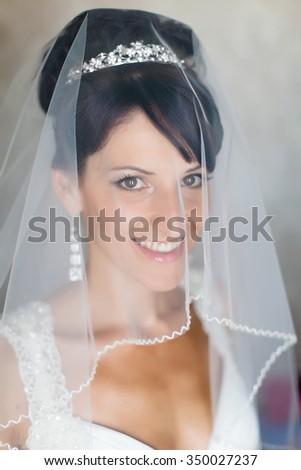 Portrait of bride indoors. Attractive young bride looking at camera through wedding veil - stock photo